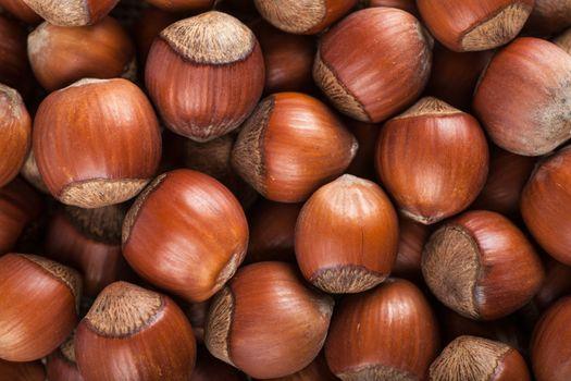 Closeup view of heap of hazelnuts