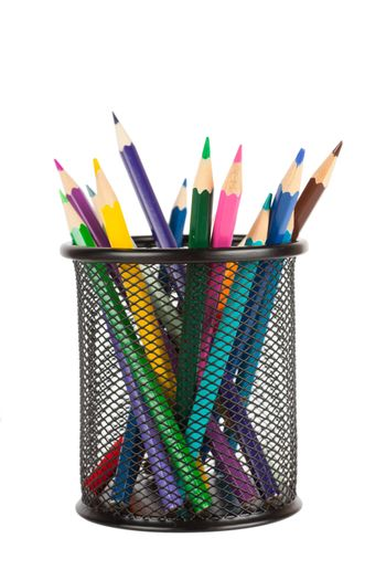 Colorful pencils in a cup isolated over white background