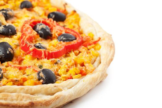 Pizza with cheese, pepper and olive over white background