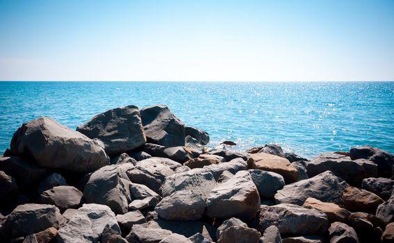 Big rocks on the coast of the sea