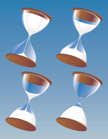 Hourglass in a set of four at different steps in time