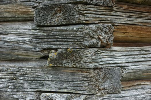 Old wooden house detail, junction made without nails