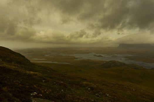 dark landscape with deep clouds in scotland