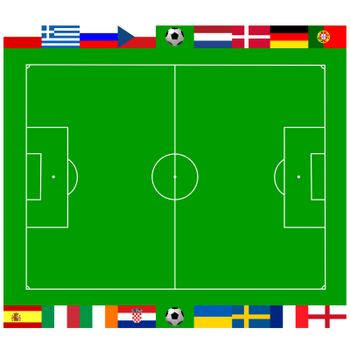 National team flags European football championship 2012. Flags from all 16 participating countries, sorted round an illustration of a soccer field according to groups
