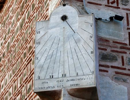 Old sundial in the wall of Mosque. Plovdiv. Bulgaria