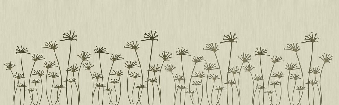 Illustration of abstract flowers on a beige background