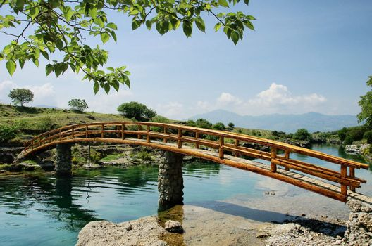 idyllic rural scene with  bridge