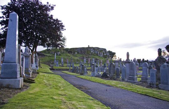 track through cemetery in stirling, scotland, uk, europe