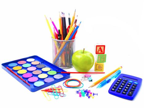 Photo with a group of various school supplies and items