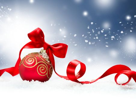 Christmas Holiday Background with Red Bauble and Snow
