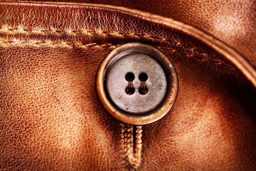 Brown Leather Texture. Genuine Leather Jacket