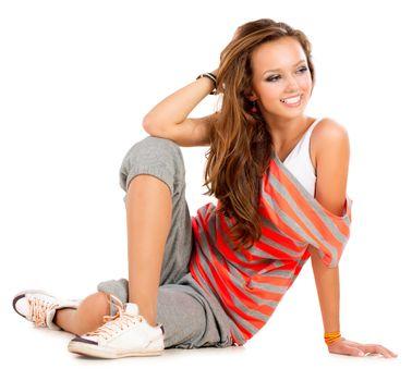Teenage Girl on a White Background