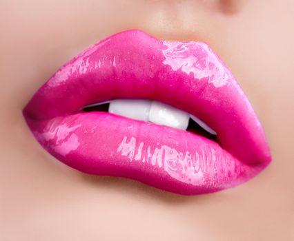 Glossy Lips. Professional Facial Makeup closeup