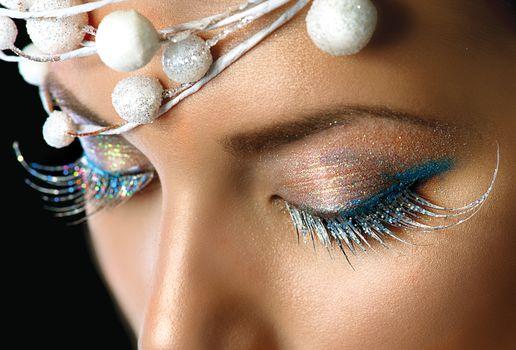 Winter Holiday Make-up closeup. Christmas Party Eyes Makeup deta