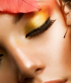 Autumn Makeup. Professional Fall Make-up Closeup