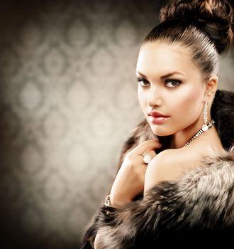 Beautiful Woman in Luxury Fur Coat