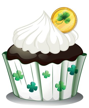 Illustration of a chocolate cupcake with a token on a white background