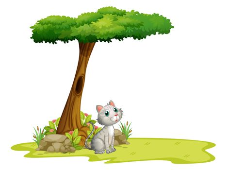 Illustration of a cat under a tree on a white background