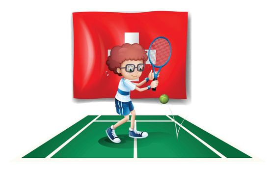 Illustration of a boy playing tennis in front of the Switzerland flag on a white background