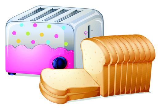 Illustration of an oven toaster and slices of breads on a white background