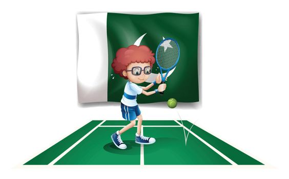 Illustration of a tennis player in front of the flag of Pakistan on a white background