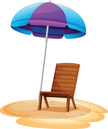Illustration of a stripe beach umbrella and a wooden chair on a white background