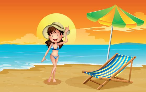 Illustration of a beach with a girl
