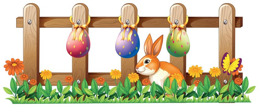 Illustration of the Easter eggs at the fence and a bunny on a white background