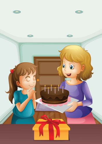 Illustration of a girl wishing before blowing her birthday cake