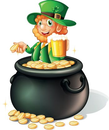 Illustration of a pot with coins and an old man with a mug of beer on a white background