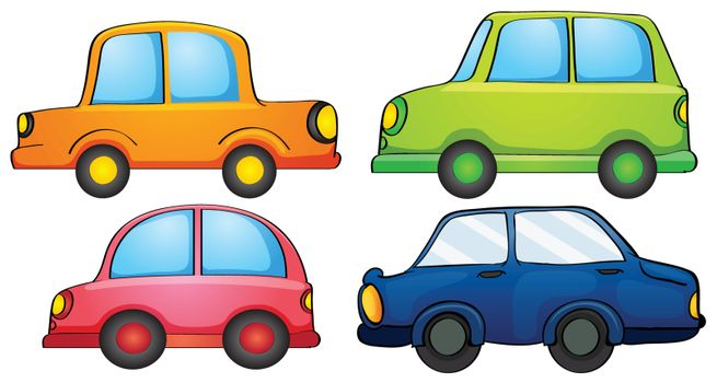 Illustration of the different designs and colors of a transportation on a white background