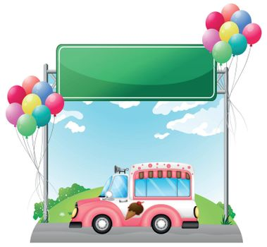 Illustration of a pink ice cream bus near an empty green board on a white background