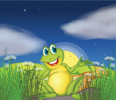 Illustration of a big green frog at the road