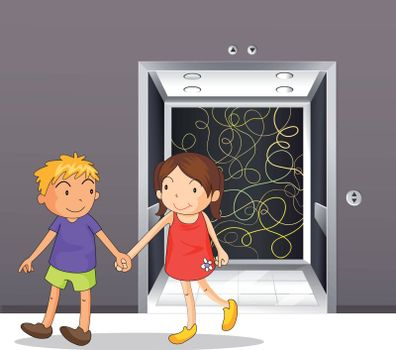 Illustration of a girl and a boy holding hands near the elevator