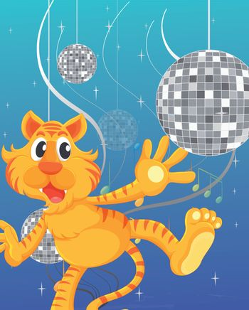 Illustration of the tiger and the disco lights