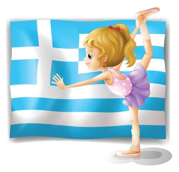 Illustration of the flag of Greece with a ballet dancer on a white background
