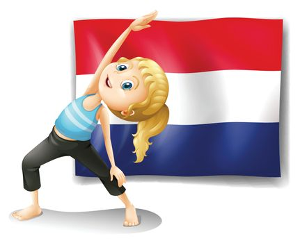 Illustration of a girl in front of the flag of Netherlands on a white background