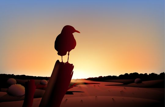 Illustration of the sunset view of the desert with a big bird