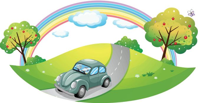 Illustration of a car running at the road on a white background