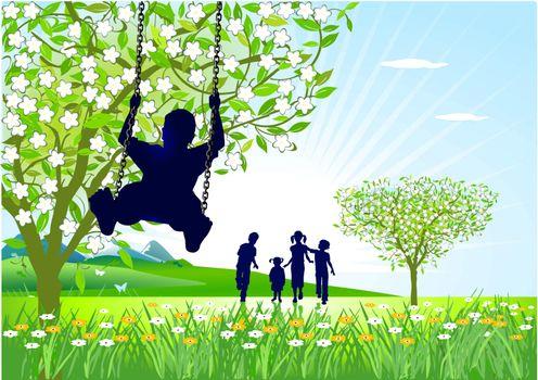 springtime on the swings