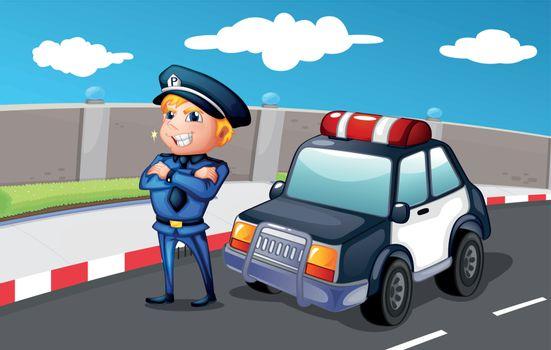 Illustration of a smiling police officer at the street
