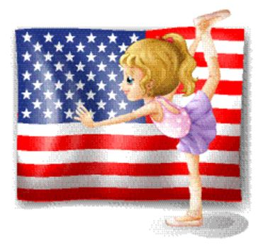 Illustration of the flag of USA at the back of a dancer on a white background