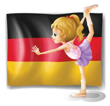 Illustration of a ballet dancer in front of the flag of Germany on a white background