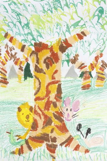 Free hand drawing using water color on paper technique from nine years old Thai young artist illustrated scene of animals in forest