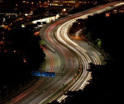 Lightrails on a S curve road of Kuala Lumpur