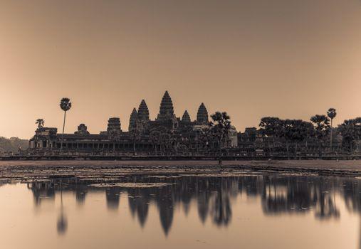 Angkor Wat in grey shade