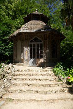 wood hut stairs