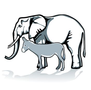 elephant and donkey, republican and democrat