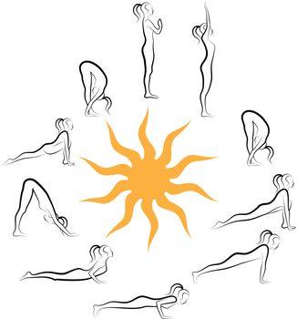 yoga poses, sun salutation, vector illustration
