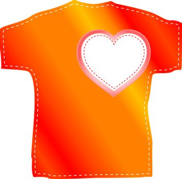T-shirt templates with valentine heart. vector